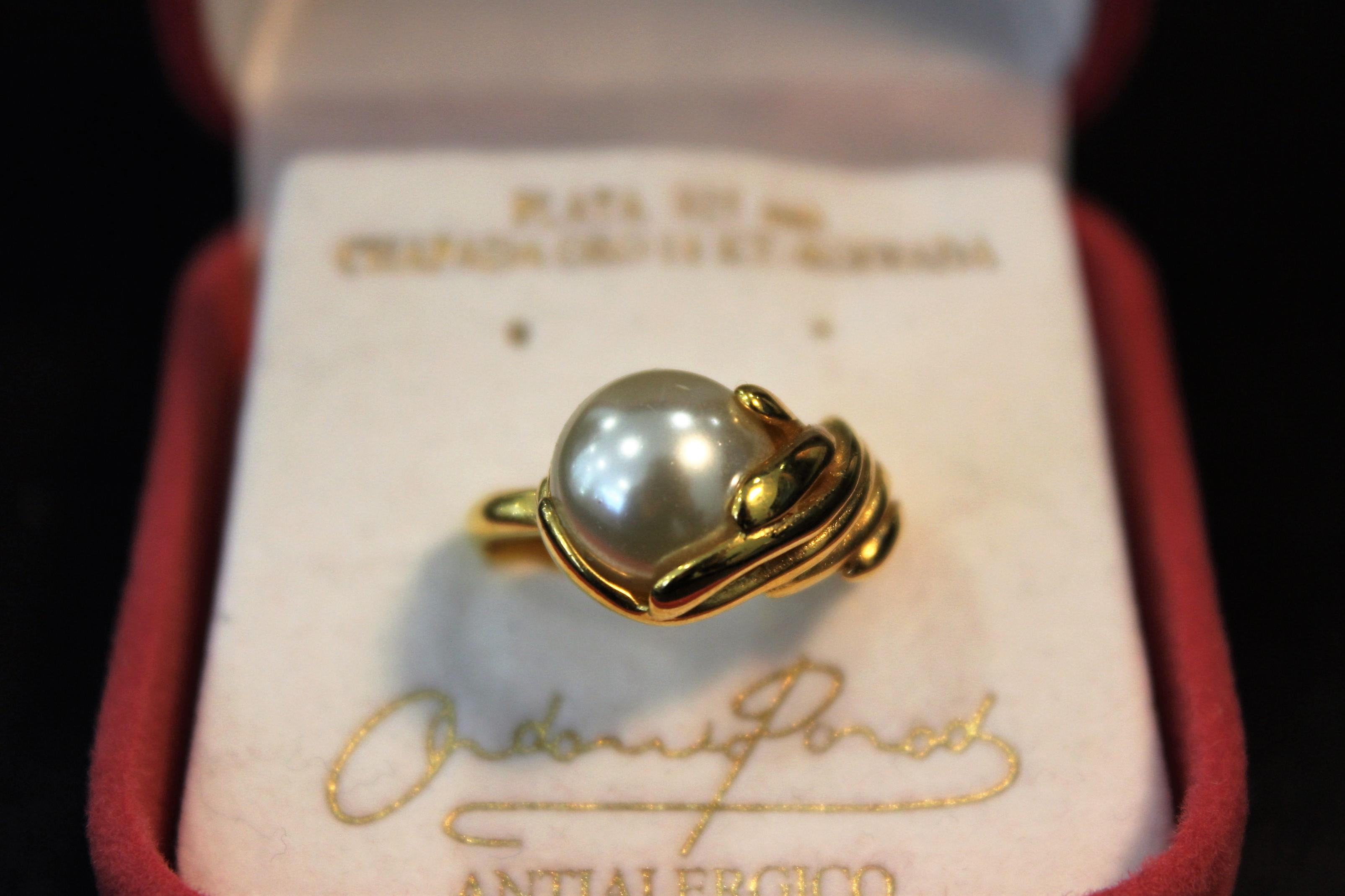 00a337b136e (Eesti) Ondina sõrmus, kullatud, pärl - Kuldkroon