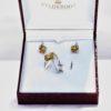 Valgest kullast ehtekomplekt, tsitriini ja teemantid